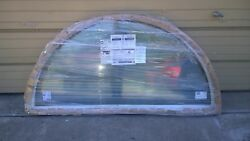 New Wood Half-moon Picture Home Window /w Tempered Glass And Cladding 71x35