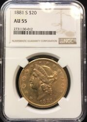 1881-s 20.00 Gold Liberty Head Ngc Au 55 Better Date