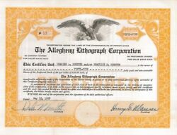 The Allegheny Lithograph Corp 1958 Pennsylvania Old Stock Certificate Share