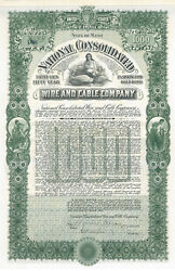 National Consolidated Wire And Cable Company 1906 Maine Gold Bond Certificate