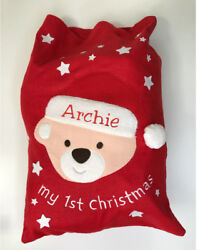 Large Personalised Embroidered Christmas Sack Teddy Bear My First Xmas Stocking