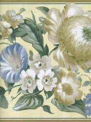 COUNTRY YELLOW AND BLUE FLORAL WALLPAPER BORDER