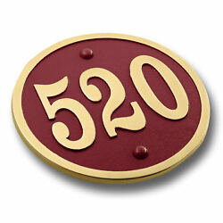 Custom House Number Circular Address Plaque In Solid Metal. Colours Available