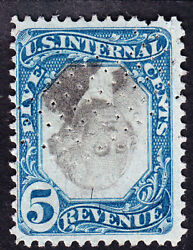 Us R107a 5c 2nd Issue Revenue Inverted Center Used F-vf Scv 4000