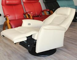 Small Fjords Stockholm Swing Relaxer Power Electric Recliner Chair Latte Leather