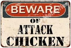 Beware of Attach Chicken Vintage Look Reproduction Metal Sign 8x12 8122908