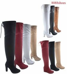Women#x27;s Fashion Sexy Over The Knee Zip Chunky Wedge Heel Boots Size 5.5 10 NEW $15.99