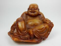 Antique Chinese Intricately Carved Soapstone Buddha Statue 15.5 75lbs