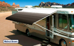 Rv Awning Replacement Fabric Canopy 16and039 Walnut Brown W/wht W/g Fabric15and0392