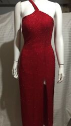 Riva Designs Red Sequined formal gown prom dress bridesmaid dress 6