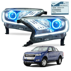 L R Front Head Lamp Light Projector Trim Black For Ford Ranger T6 Pickup 2015 18