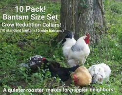 10 PACK! 10 sets BANTAM Rooster Crow Reduction Collars (aka - no crow collar)
