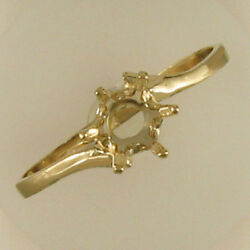 Pre-notched 6mm Round Solitaire Ring In Yellow Gold Sizes 5-9 Cr107-10ky