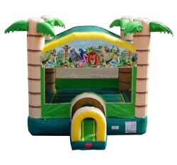 Commercial Inflatable Bounce House With Blower Tropical Jungle Moonwalk Castle