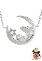 New Peanuts Snoopy Crescent Diamond K10 White Gold Necklace From Japan