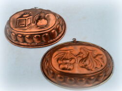 Two Vintage French Copper Mould Mold 12 Copper Pans