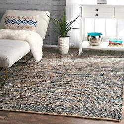 Nuloom New Denim Cotton And Jute Blend Flatweave Area Rug In Blue And Natural