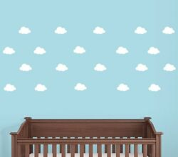 Peel and Stick Clouds Wall Decals Nursery Decals Set of 40 Cloud Stickers