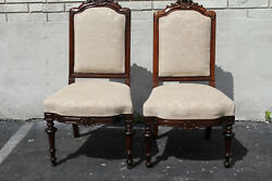 Pair Of 19th C. Victorian Rosewood Side Accent Chairs, New Upholstery