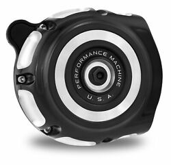 Performance Machine Pm Black Contrast Cut Vintage Air Cleaner Harley Twin Cam
