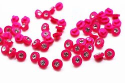 Small Bright Pink Crystal Shank Button Tiny Mini Round Shiny Shanks 8mm 100pcs