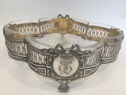 Antique German 800 Silver Cut Crystal Dish On Stand