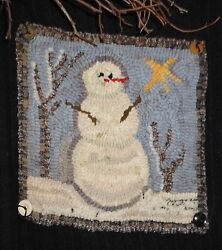 Snowy Day Snowmanrug In A Day Linen Patternprimitive Rug Hooking