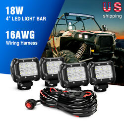 Nilight 4x4' 'in 18w Led Light Bar Flood Led Lights For Ford Off Rord Wiring Kit