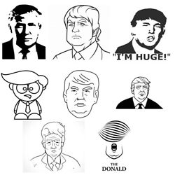 Donald Trump Mounted Rubber Stamp 38mm On Plastic Handle With Stamp Pad Black