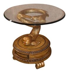 Truly Unique Mystical Glass Top Accent Table W/carved Dragonfish