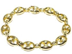 14k Yellow Gold Stunning 79.7G 12.54mm 9inch Gucci Puff Link Elegant Bracelet