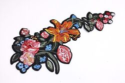Flowers Patches (10 Pair)Extra Large Floral T-shirt Iron On Embroidered Applique