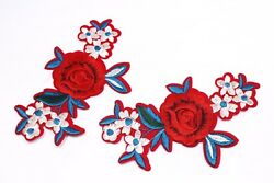 Rose Flower Patches (10 Pair) Red Blue White Embroidered Floral Iron On Applique