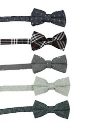 SET OF 5 Mens Classic Fashion Pre-Tied Bow Tie 100% Cotton Linen or Poly  #7