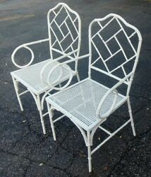 Vtg Pr Iron Chinese Chippendale Arm Chairs Faux Bamboo Hollywood Regency