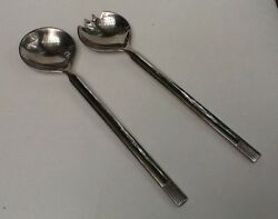 Large Silver Plate Salad Server Set Spoon And Fork Mid Century Modern Mcm