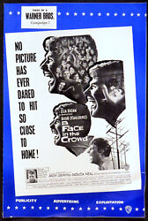 Face In The Crowd 1957 Andy Griffith, Patricia Neal Uk Campaign Book