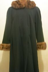 Womenand039s Black Cashmere And Wool Fur Coat Size L