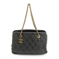 AUTHENTIC CHANEL QUILTING STITCH CHAIN SHOULDER BAG #15 GREY GRADE B USED-AT