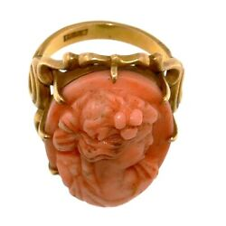 1827 Antique Gold Ring With Coral Cameo