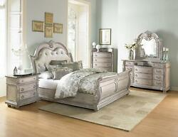 MAJESTIC 5pcs Antique White Bedroom Set w King Tufted Faux Leather Sleigh Bed