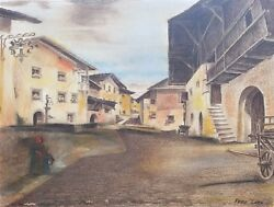 Pastel Drawing of Village by Austrian Artist Fritz Lach