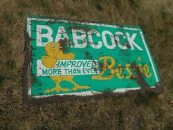 Vintage RARE ORIGINAL Babcock Bessie CHICK CHICKEN POULTRY ADVERTISING FARM SIGN