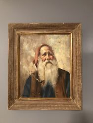 Vntg Painting Frame Oil On Masonite Old Man Smoking Pipe Tomte Fisherman Farmer
