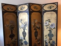 1017-601 Vintage 4-panel Asian Chinoiserie Floral Gilt Room Divider Screen