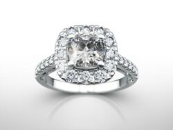2.0 Ct Cushion D/si1 Diamond Solitaire Engagement Ring 14k White Gold Xmas