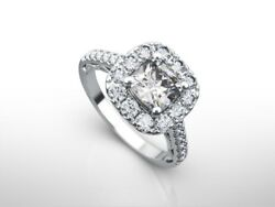 2.0 Ct Cushion G/si1 Diamond Solitaire Engagement Ring 14k White Gold Xmas