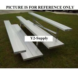 New 2 Row National Rep Aluminum Bleacher 15and039 Wide Double Footboard