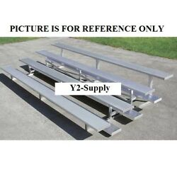 New 4 Row Universal Low Rise Aluminum Bleacher 15and039 Wide Single Footboard