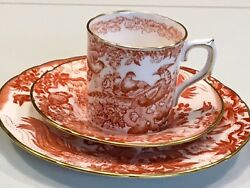 English Royal Crown Derby Bone China Tea Cup Saucer Cake Plate Red Aves